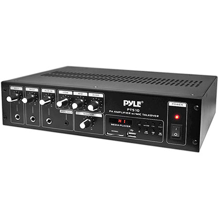 Pyle 240-watt Public Address Power Amplifier with 70-volt Output, Mic Talkover, USB/SD Readers, AUX Input, Built-in FM Radio & LED Display