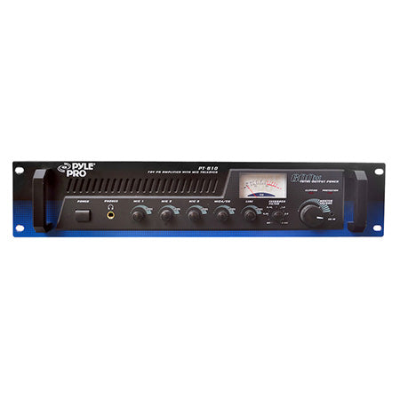Pyle 19-in 600-watt Power Amplifier/Mixer with 70-volt Output and Mic Talkover - Rack Mountable