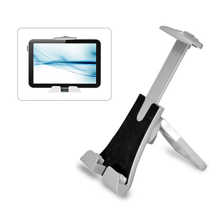 Pyle Adjustable Portable Tablet Stand/Holder with Hand Grip - Silver