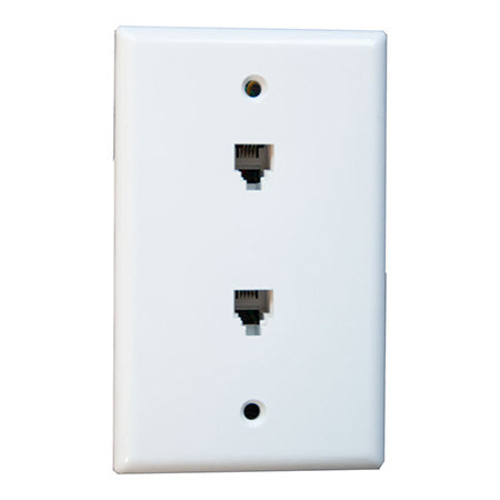 PerfectVision Single Gang 2 x Phone Jack Flush Mount Wall Plate - White