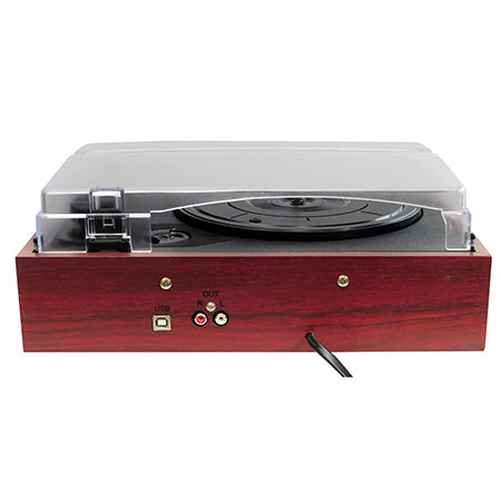 Pyle Pro Retro Style Wood Finish Turntable - Brown