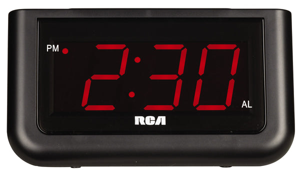 RCA 1.4-in LED Display Alarm Clock with Battery Backup - Black