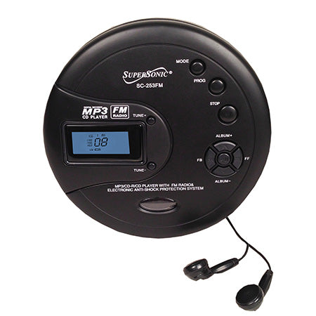 Supersonic Personal MP3/CD Player with FM Radio - Black