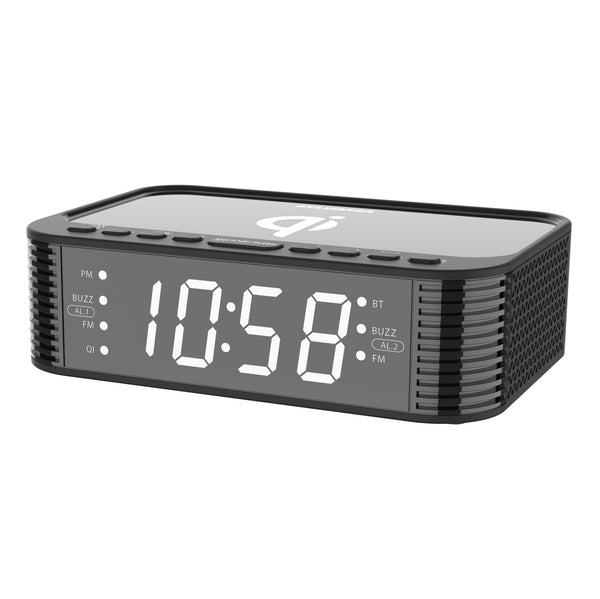 Sylvania 1.2-in LED Display Bluetooth Qi Charging Alarm Clock with USB Charging - Black