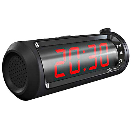 Sylvania 1.8-in Time Projection Dual Alarm Clock Radio with USB Charging - Black