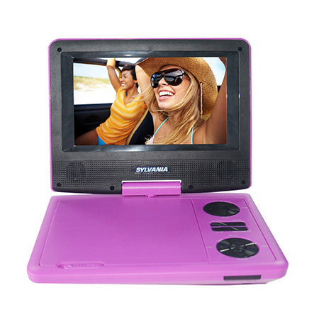 Sylvania 7-in Portable Swivel Screen DVD Player with Matching Headphones - Purple