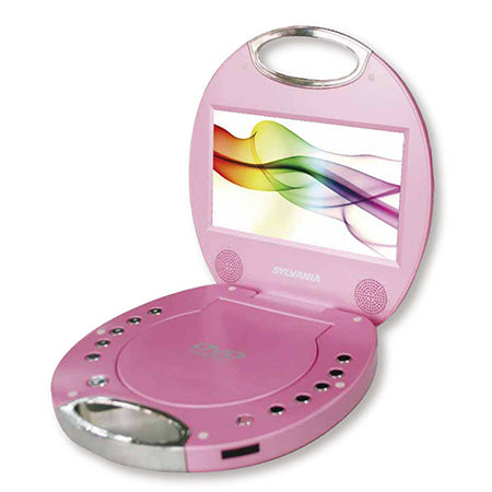 Sylvania 7-in Portable DVD Player with Chrome Handle - Pink