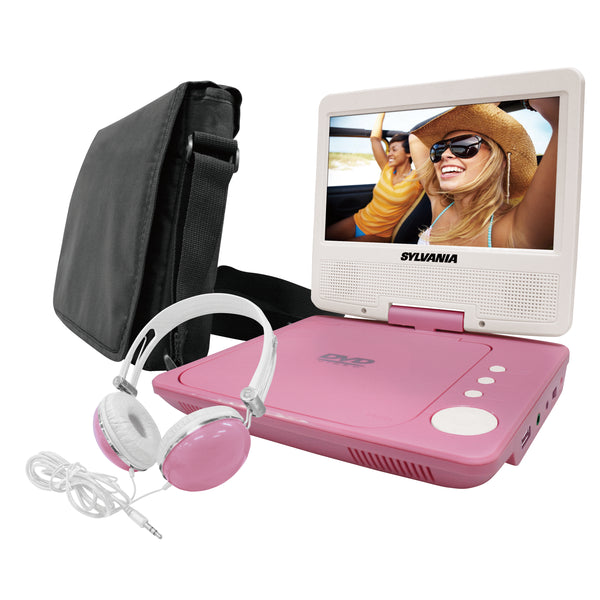 Sylvania 7-in Portable DVD Player with Swivel Screen & Headphones - Pink