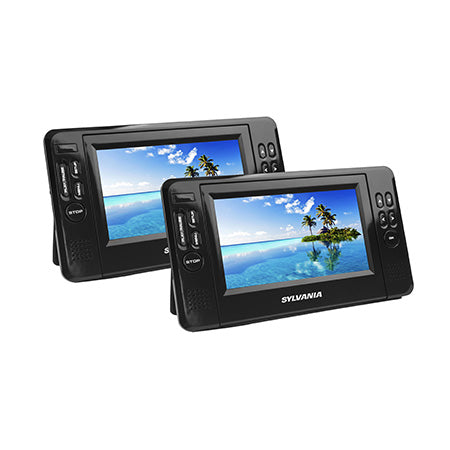 Sylvania 7-in Dual Portable DVD Players - Black