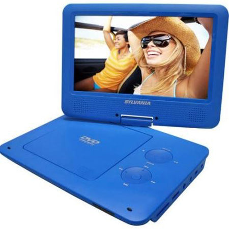 Sylvania 9-in Portable DVD Player with Swivel Screen - Blue