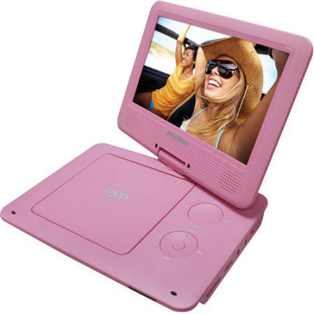 Sylvania 9-in Portable DVD Player with Swivel Screen - Pink