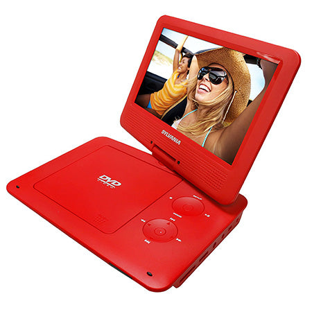 Sylvania 9-in Portable DVD Player with Swivel Screen - Red
