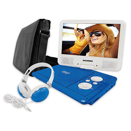 Sylvania 9-in Portable Swivel Screen DVD Player with Deluxe Bag and Matching Headphones - Blue
