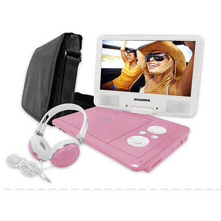 "Sylvania 9"" Portable Swivel Screen DVD Player with Deluxe Bag and Matching Headphones - Pink"