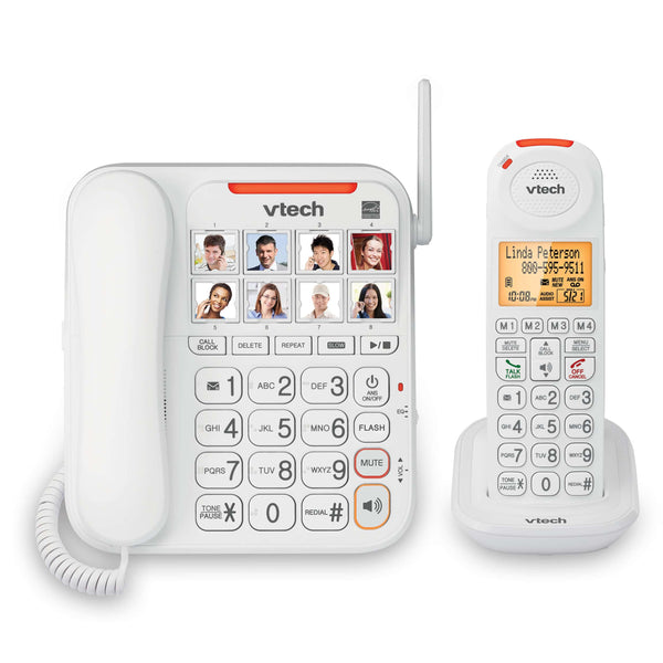 VTech Amplified Corded Phone & DECT 6.0 Amplified Cordless Phone Set with Big Buttons, Large Display and Answering Machine - White