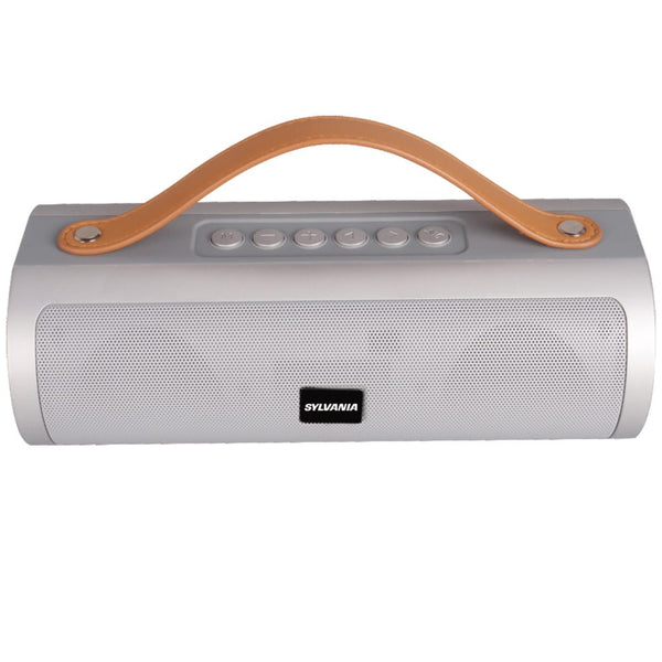 Sylvania Wireless Bluetooth Speaker with Leather Strap - Silver