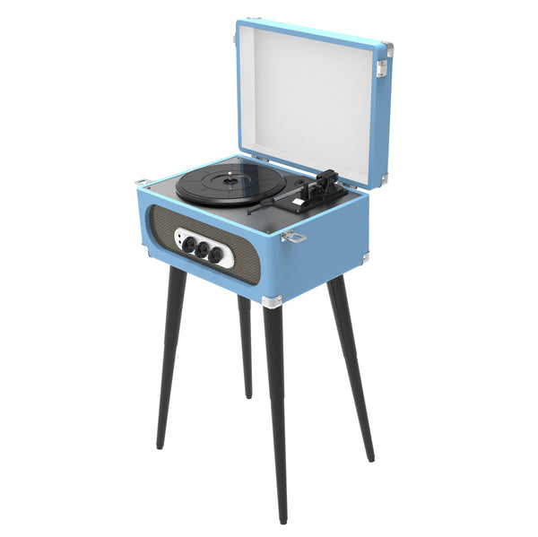 Sylvania Bluetooth Retro 3-Speed Turntable with Stand and FM Radio - Blue