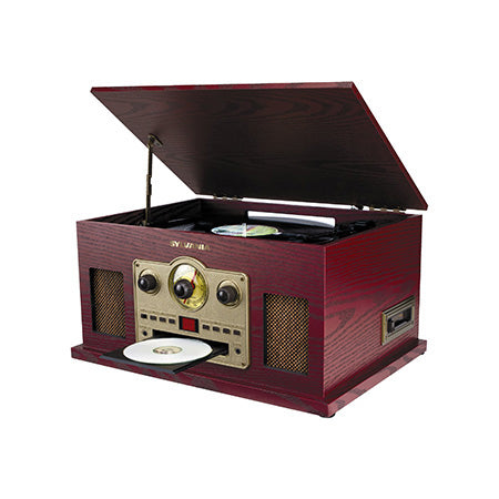 Sylvania 5-in-1 Nostalgic Turntable with CD, Cassette, AUX and AM/FM Radio - Wood