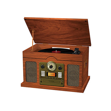 Sylvania Nostalgia 7-in-1 Bluetooth 3-Speed Turntable Recorder with CD, AUX, AM/FM Radio and Cassette - Wood