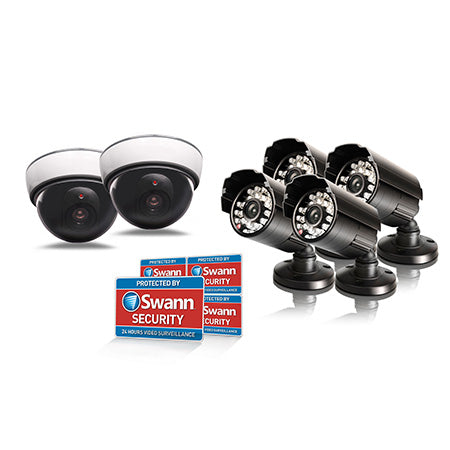 Swann Dummy/Imitation Theft Prevention Kit with 4 x Dummy Bullet Security Cameras and 2 x Dummy Dome Security Cameras - Black