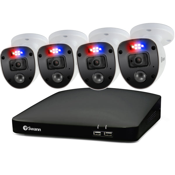 Swann 1080p HD 8 Channel 1TB Hard Drive DVR Security System with 4 x 1080p Police-Style Red and Blue Flashing Light Security Cameras (PRO-1080SL)