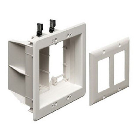 Arlington Two-Gang Recessed Electrical Box with Grounding Clip - White