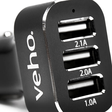 Veho Triple USB 5-volt 5.1-amp Car Charger for all USB Charged Devices - Black