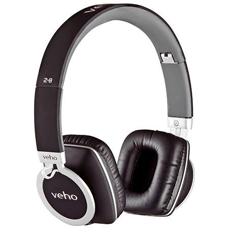 Veho Z-8 Designer Aluminium Headphones with Detachable Flex Cord System and Folding Design - Black