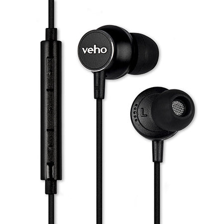 Veho Z-3 In-Ear Stereo Headphones with Built-in Microphone and Volume Controls - Black