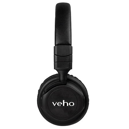 Veho ZB-5 On-Ear Wired or Wireless Bluetooth Headphones with Microphone and Audio Controls - Black