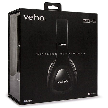 Veho ZB-6 On-Ear Wireless Bluetooth Headphones - Black