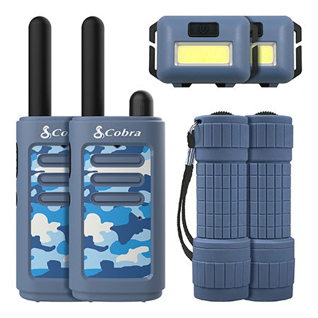 Cobra Kids 6 Piece 25-km (16-mile) Two-Way Radio / Walkie Talkie with Headlamp and Flashlight - Blue