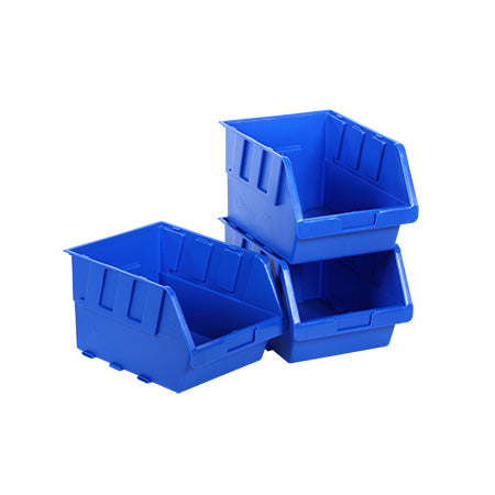 StorageTek #4 Stackable Plastic Bin - 205-mm x 176-mm x 168-mm (8-in x 6.9-in x 6.6-in) - Blue