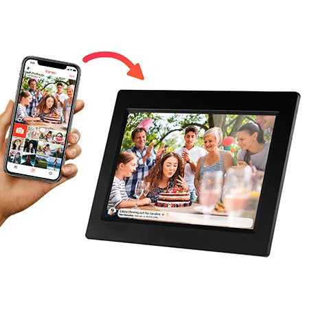 Sylvania 10-in LED Touch Screen Digital Picture Frame with WiFi and Cloud - Wood
