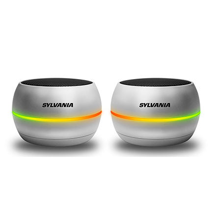 Sylvania True Wireless Stereo Bluetooth Speaker Pair with LED Light Strip - Silver