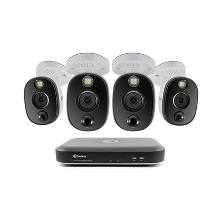 Swann 4K Ultra HD 4-channel 1TB Hard Drive DVR Security System with 4 x 4K Heat and Motion Sensing Bullet Cameras