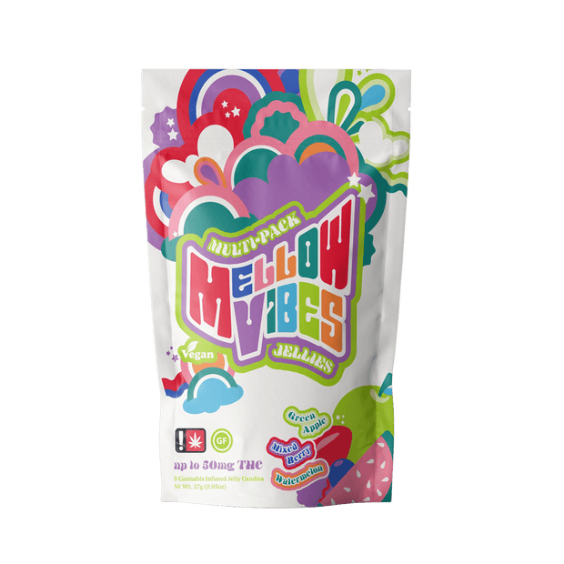 Mellow Vibes Jellies Cannabis Edibles Multi Pack | Green Apple. Mixed Berry, Watermelon