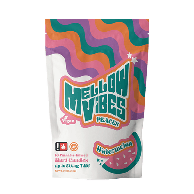 Mellow Vibes Peaces Watermelon THC Hard Candies Edibles
