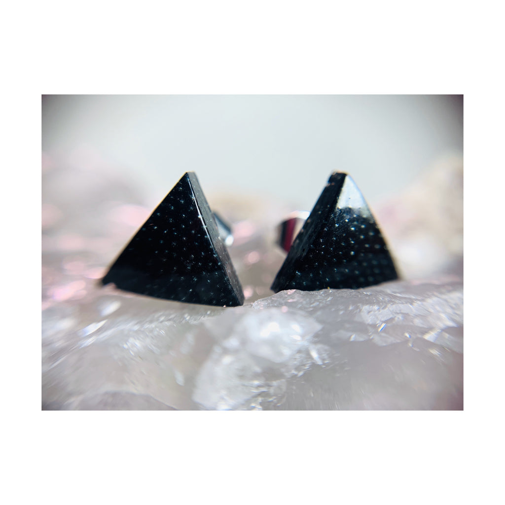 Black Triangle Thin Studs