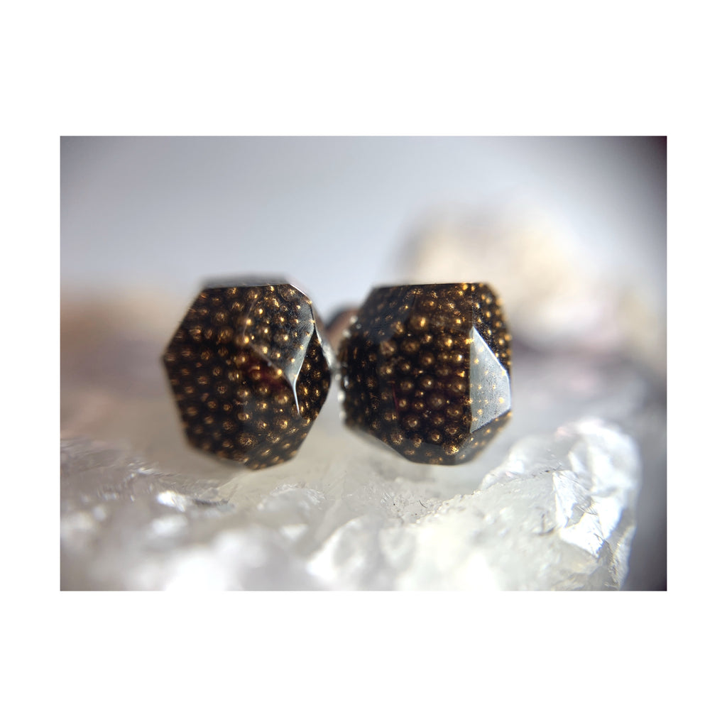 Brown Faceted Studs