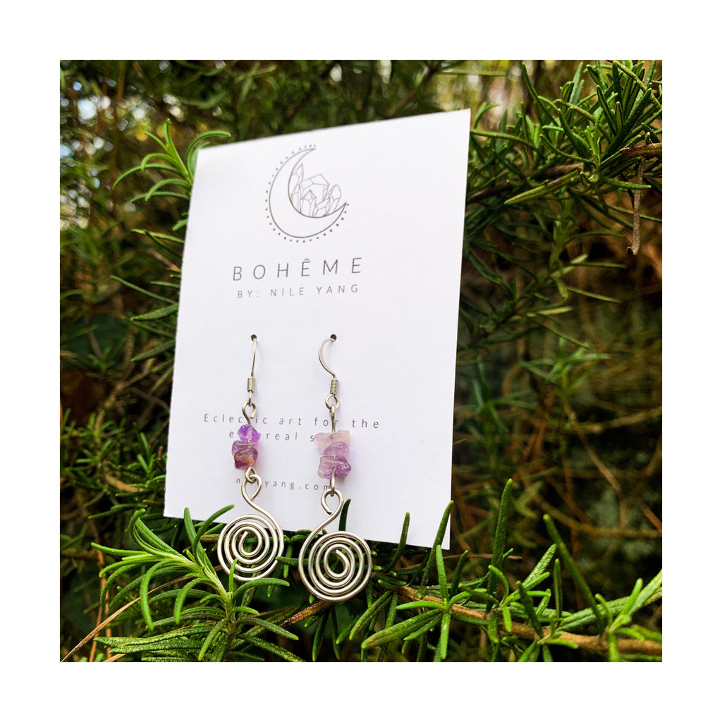 Amethyst Chip Spiral Dangle Earrings