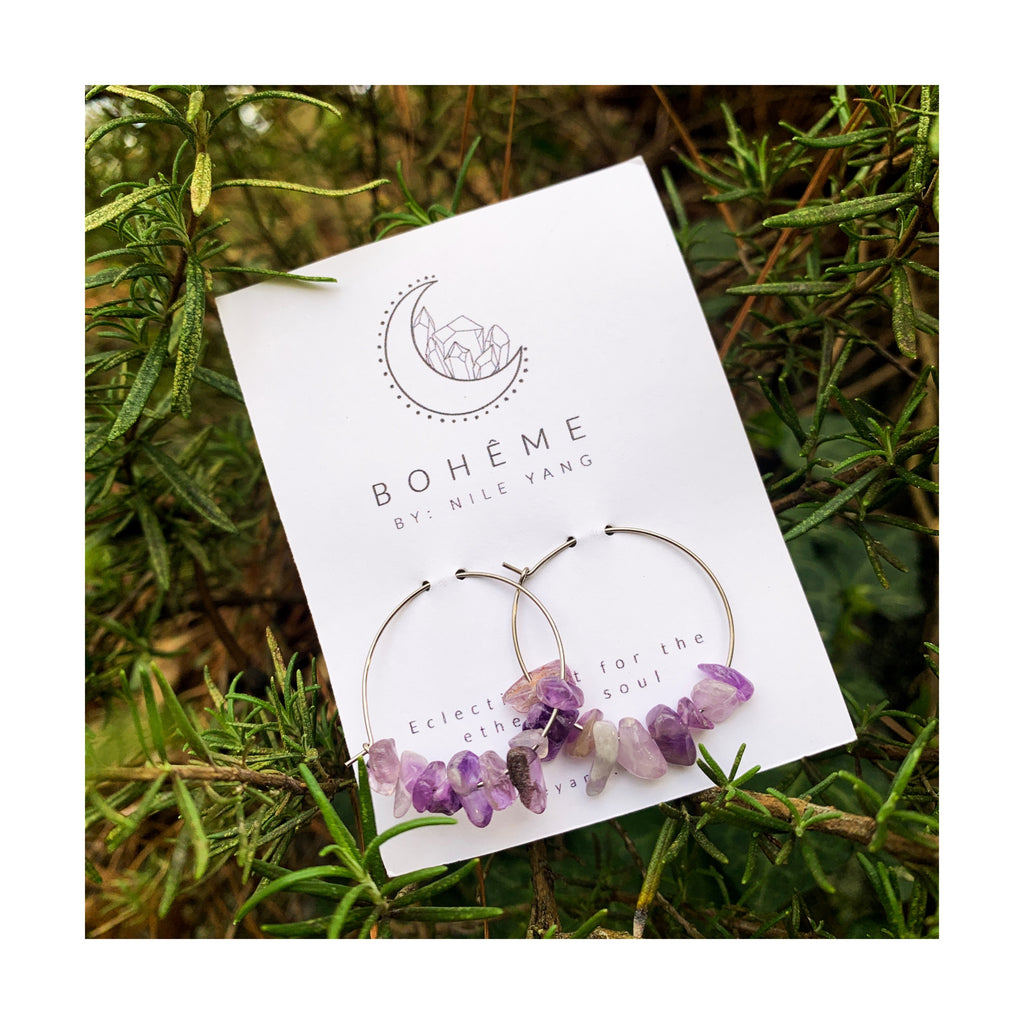 Amethyst Chip Hoops