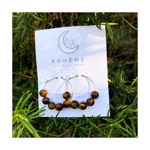 Tiger Eye Bead Hoops