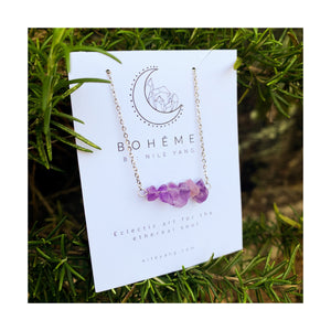 Amethyst Chip Bar Necklace