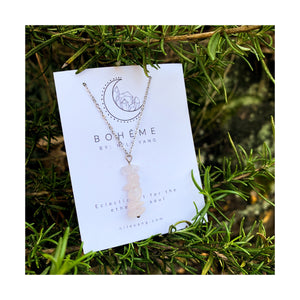 Rose Quartz Chip Pendant Necklace