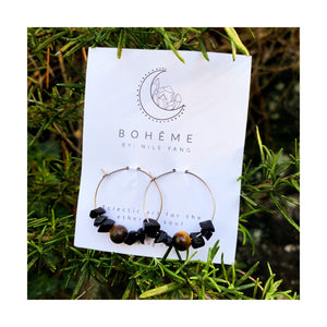 Tiger Eye & Onyx Bead & Chip Hoops
