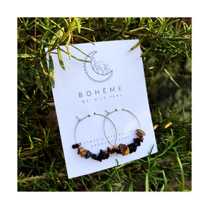 Tiger Eye & Onyx Chip Hoops