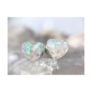 Clear Intentions Iridescent Heart Studs