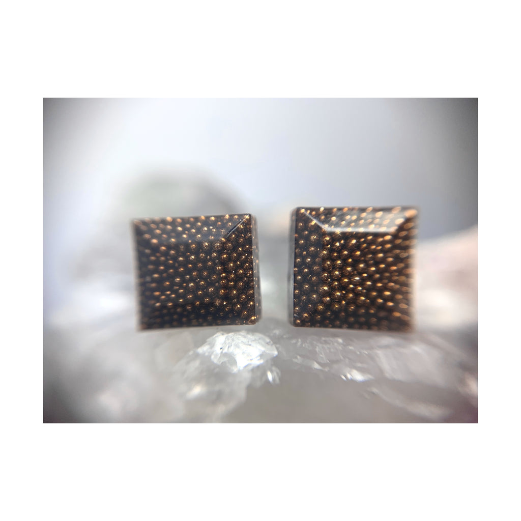 Brown Faceted Square Studs