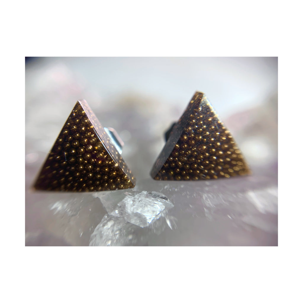Brown Triangle Thin Studs